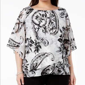 Alex Evening Printed Tiered Plus Size Blouse